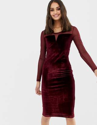 Qed London QED London velvet bodycon dress with mesh panels