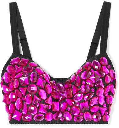 Dolce & Gabbana - Cropped Crystal-embellished Satin Top - Fuchsia