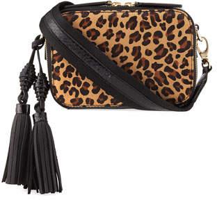 Rafe Sophie Leopard-Print Calf Fur and Snakeskin Camera Bag