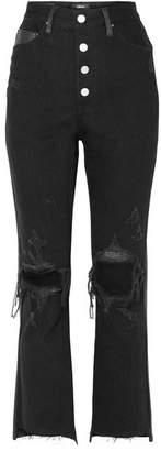 Amiri Leather-paneled Distressed High-rise Flared Jeans - Black