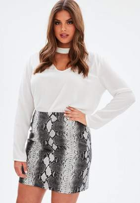 Missguided Curve Gray Snake Print Faux Leather Skirt