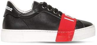 DSQUARED2 Icon Print Leather Sneakers