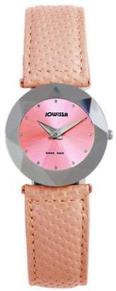 Jowissa Women's J5.004.M Facet Dimensional Glass Pink Leather Watch