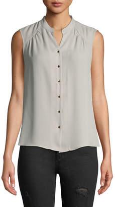 Iconic American Designer Sleeveless Button-Front Chiffon Blouse