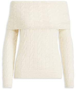 Ralph Lauren Women's Cable-Knit Cashmere Off-The-Shoulder Sweater