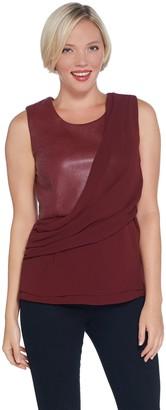 Brooke Shields Timeless BROOKE SHIELDS Timeless Asymmetrical Faux Leather Drape Front Top