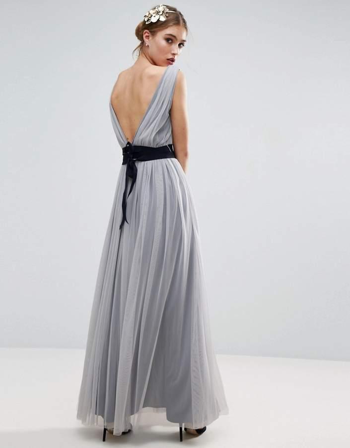 AsosASOS WEDDING Mesh Maxi Dress With Navy Ribbon Strapping Detail