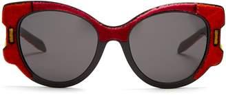 Velvet-covered cat-eye sunglasses