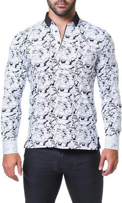 Maceoo Newton Haring Trim Fit Print Long Sleeve Polo