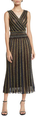 Missoni V-Neck Cap-Sleeve Metallic Striped Wrap Midi Dress
