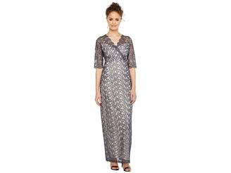 Sangria 3/4 Sleeve Surplice Front Metallic Lace Column Gown Women's Dress