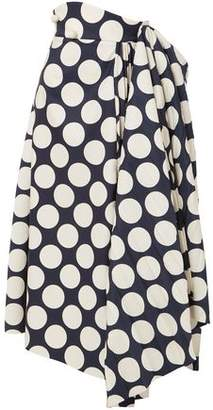 Awake Draped Pleated Polka-Dot Twill Midi Skirt