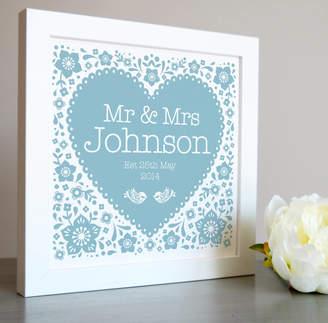 Pepper Print Shop Framed Wedding Heart Personalised Print