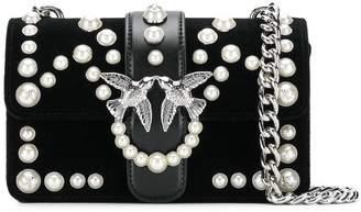 Pinko mini Love Velvet Pearls 1 shoulder bag