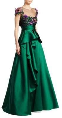 Marchesa Cap-Sleeve Floral Ruffle Skirt Gown
