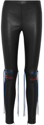 Alexander McQueen Whipstitched Stretch-Leather Leggings