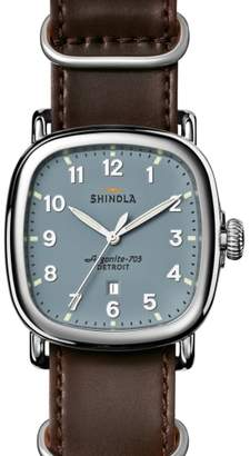 Shinola The Guardian Leather Strap Watch, 41.5mm x 43mm