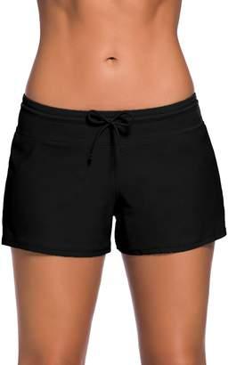 Trunks Bsubseach Women Side Split Plus Size Swim Boardshorts Adjustable Ties Swim Shorts