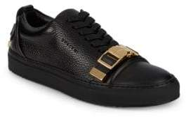 Buscemi Pebbled-Leather Metal Strap Sneakers