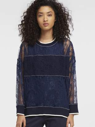 DKNY Lace Pullover With Ribbed Trim