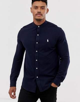 a75b0fdb Polo Ralph Lauren player logo grandad collar pique shirt slim fit in navy
