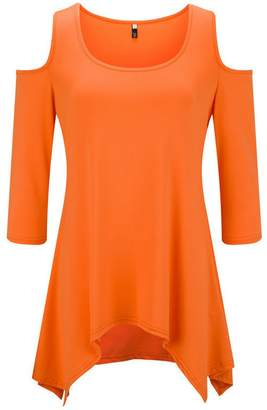 Yeokou Women's 3/4 Sleeve Off Shoulder Swing Tunic Tops Loose Basic T-Shirts