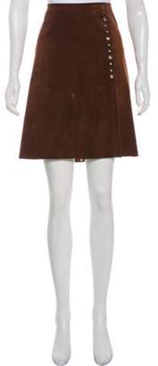Dolce & Gabbana Suede Knee-Length Skirt Brown Suede Knee-Length Skirt
