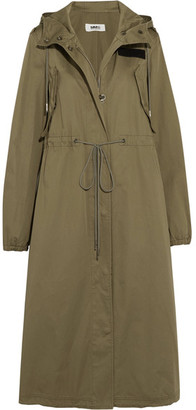 MM6 Maison Margiela - Hooded Cotton-gabardine Trench Coat - Army green $795 thestylecure.com