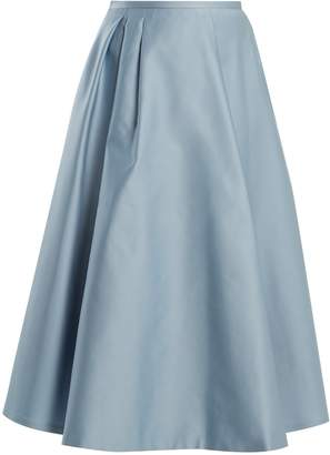 Rochas Pleated duchess-satin midi skirt