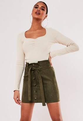 Missguided Khaki Faux Suede Paperbag Waist Mini Skirt