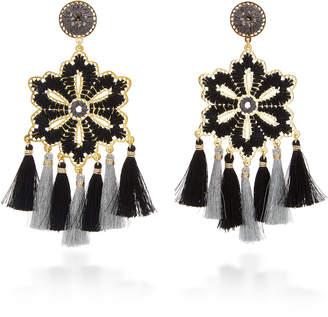 Mercedes Salazar Hibiscus Tasseled Gold-Plated Crystal Earrings