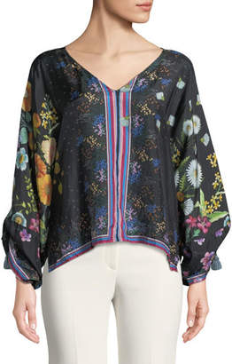 Johnny Was Forest Silk Georgette Long-Sleeve Blouse, Plus Size