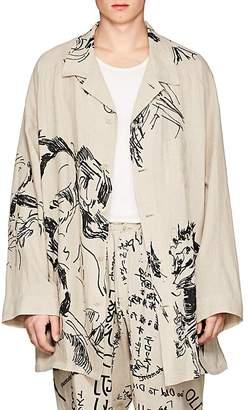 Yohji Yamamoto Men's Scribble-Print Linen Oversized Shirt Jacket