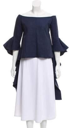 Ellery Linen Off-The-Shoulder Blouse