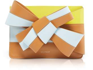 DELPOZO Color Block Leather Large Bow Clutch