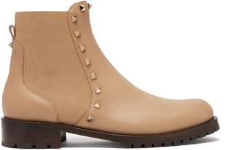 Valentino Rockstud Beatle Leather Chelsea Boots - Womens - Tan