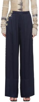 Raquel Allegra Navy Tie-Dye Wide Hem Lounge Pants
