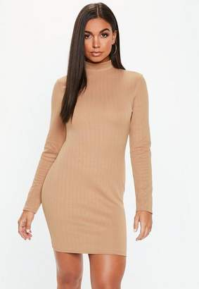 Missguided Camel High Neck Ribbed Mini Dress