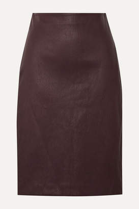 Theory Leather Pencil Skirt - Burgundy