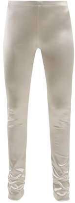 Junya Watanabe Metallic Stretch Satin Leggings - Womens - Silver