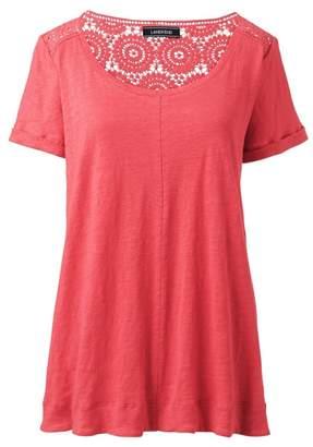 Lands' End Red Plus Crochet Trim Linen T-Shirt