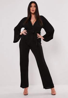 Missguided Plus Size Black Batwing Slinky Wide Leg Romper
