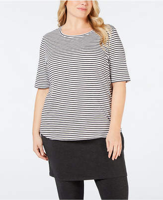 Eileen Fisher Plus Size Round-Neck Elbow Sleeve Top