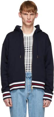 Thom Browne Navy Chunky Knit Hoodie