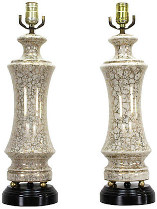 One Kings Lane Vintage Pair of Gilt Porcelain Table Lamps - Vintage Bella Home