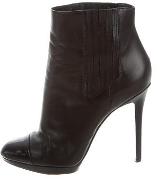 B Brian Atwood Leather Round-Toe Ankle Boots $95 thestylecure.com