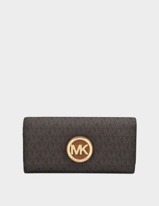 MICHAEL Michael Kors Fulton Large Gusset Carryall Wallet in Brown Saffiano Calfskin
