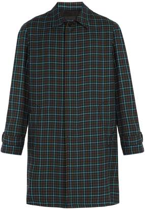 Prada Single-breasted check wool overcoat