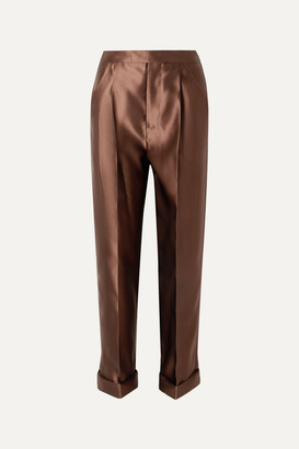 Tom Ford Silk-satin Pants - Brown