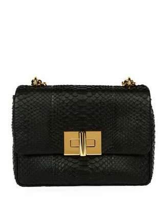 Tom Ford Natalia Large Santiago Python Shoulder Bag, Black